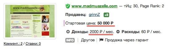 сайт стоимостью 50000 руб, приносящий 4000 руб/месяц
