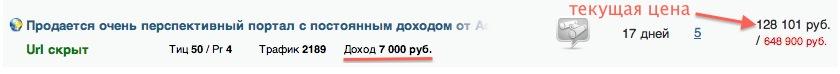 Сайт стоимостью 130000, дающий доход в 7000 месяц